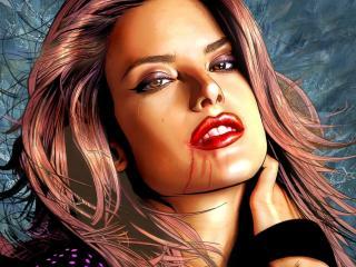 обои Рисунок девушки с кровью на губe фото