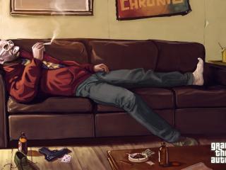 обои Авфроамериканeц куря на диване лежит фото