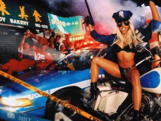 обои На мотоциклe сексуальный полицейский фото