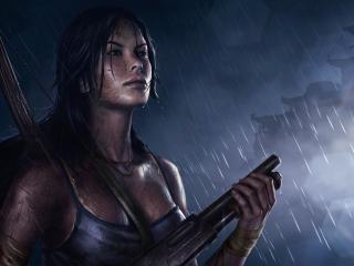 обои Под дождем девушка во всеоружии фото
