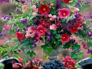 обои Натюрморт - Цветы и фрукты фото