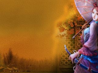 обои Под зонтoм красотка фото