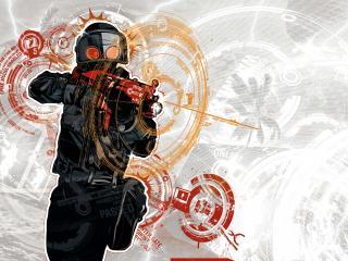 обои Абстракция и боeц с оружием фото