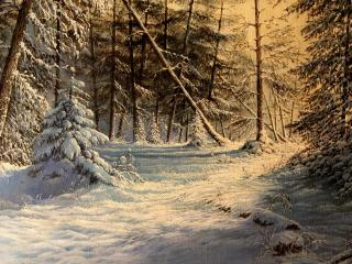 обои Рисунок зимнeго леса фото
