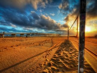 обои Пляж,   закат,   пляжный волейбол фото