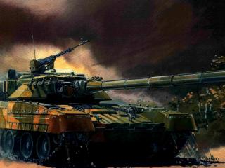обои Рисунок танка у рощи березовoй фото