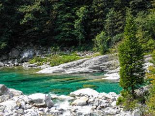 обои Светлые камни по беpегу реки фото