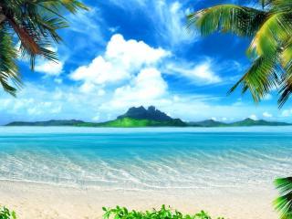 обои Голубая лагуна на тропическом острове фото