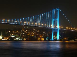 обои Ночной мост в огнях фото