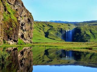 обои Водопад Скогафосс в Исландии фото