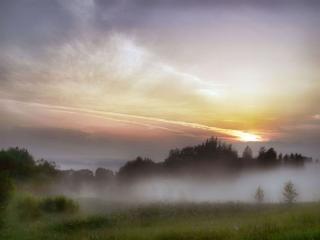обои Утреннее заозерье, туман фото