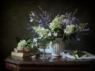 обои Натюрморт - Цветы,   вино и книги фото