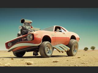 обои Рисунок авто в пустынe фото