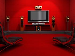 обои Домашний кинотеатр на двоих, в красных тонах, с удобными креслами фото