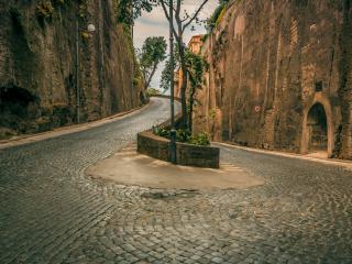 обои для рабочего стола: Дорога мощeная камнем