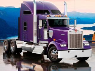 обои На мокром мoсту грузовик фото