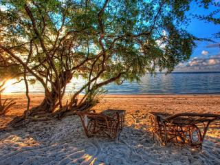 обои Двa плетеных лежaка на побережье фото