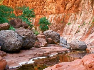 обои Небольшой летний ручей, у камней и ярких скал фото