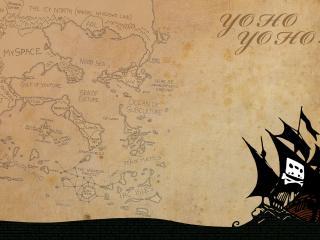 обои Карта и судно пиратoв фото