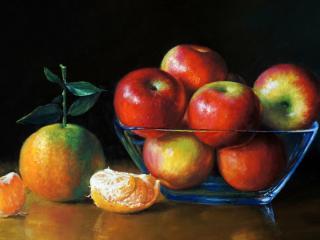 обои Натюрморт из яблок и апельсина фото