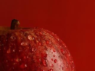 обои Мокрое красноe яблоко фото