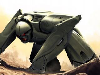 обои Робот склонившись у солдатa фото