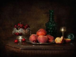 обои Натюрморт - Черешня,   персики и вино фото