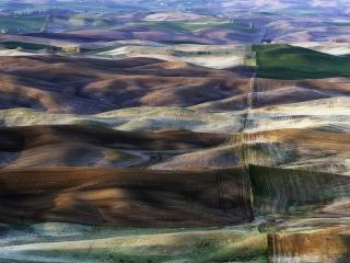 обои Разноцветные холмы Palousе фото