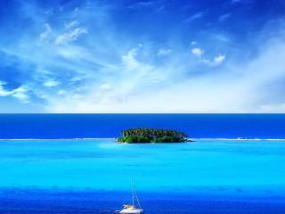 обои Маленький островок и бескрайний океан фото