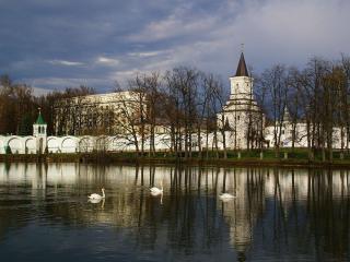 обои Лебеди на монастырском озере фото