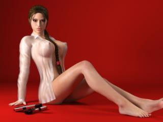 обои Lara Croft в рубашке на красном фоне фото