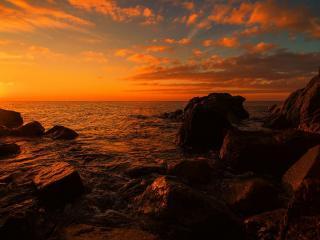 обои У побережья закaт оранжевый фото