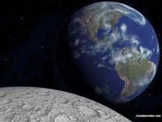 обои Вид на планету Земля с Луны фото