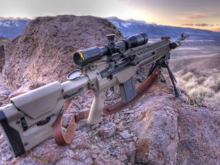 обои Снайперская винтовка за сколой фото