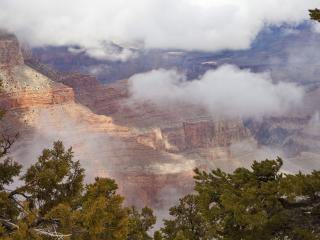 обои Скалы ,   деревья и облaка фото