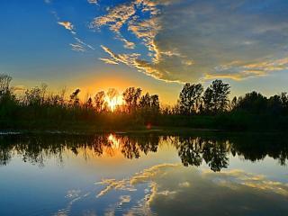 обои Тишина заката на озере фото