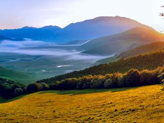 обои Огромный луг на склоне горы фото