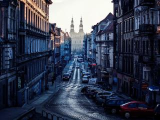 обои Улица города на закате фото