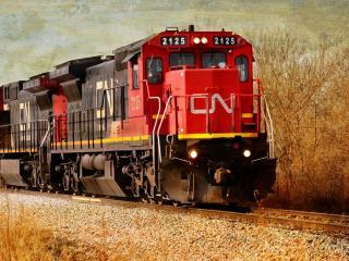 обои Поезд с составом движется по рельсам фото