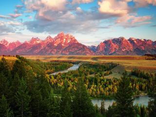обои Живописная долина у красных гор фото