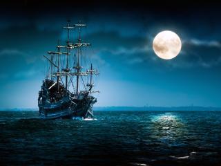 обои Фрегат в лунную ночь фото