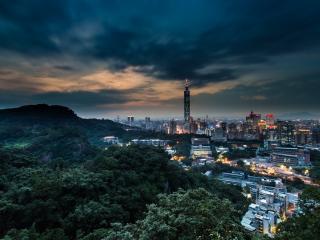 обои Тайвань вечером фото