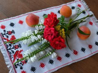 обои Натюрморт -  С персиками и цветами фото