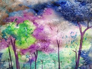 обои Нарисованные деревья фото