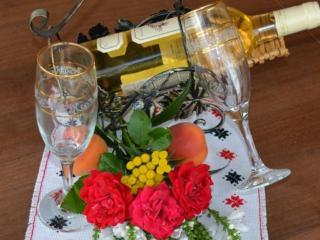 обои Натюрморт - Вино и розы фото