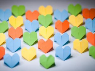 обои для рабочего стола: Бумажные сердечки