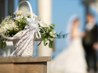 обои Свадебный букет в корзинке фото