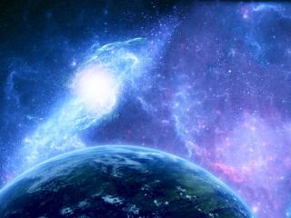 обои Сияние вокруг планеты земля фото
