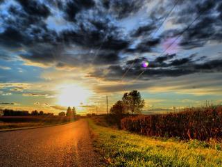 обои Закат солнца на фоне дороги фото