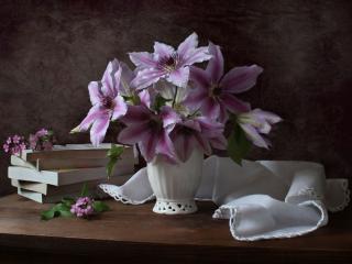 обои Натюрморт - Сиреневые лилии фото